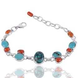Natural Tibetan Turquoise And Multigemstone 925 Sterling Silver Bracelet