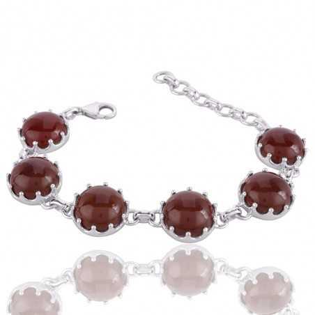 Natural Red Onyx Gemstone 925 Sterling Silver Cluster Bracelet