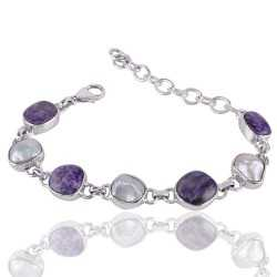 Charoite And Biwa Pearl Gemstone 925 Sterling Silver Bracelet