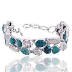 Tibetan Turquoise And Biwa Pearl Gemstone 925 Sterling Silver Bracelet