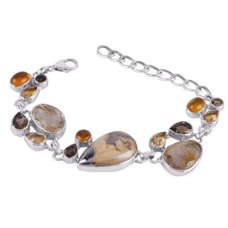 Natural Schelm Blend And Multigemstone 925 Sterling Silver Bracelet