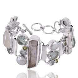 Aquamarine And Multigemstone 925 Sterling Silver Bracelet