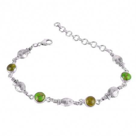 Idocrase And Green Copper Turquoise Gemstone 925 Sterling Silver Bracelet
