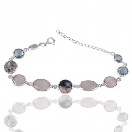 Dendritic Opal And Multigemstone 925 Sterling Silver Bracelet