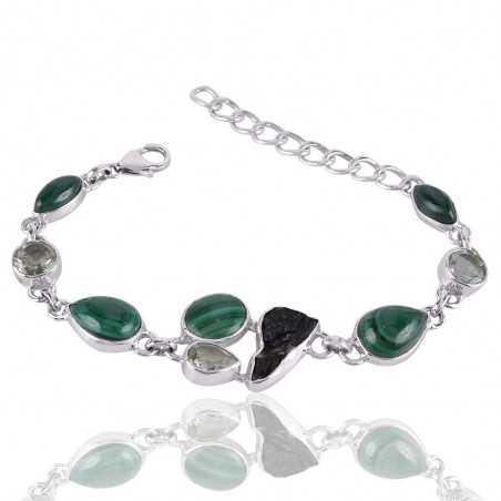 Green Amethyst Malachite And Tektite Gemstone 925 Sterling Silver Bracelet
