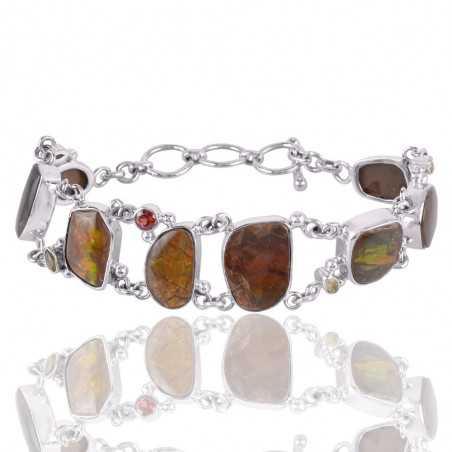 Garnet Citrine Peridot And Ammolite Gemstone 925 Sterling Silver Bracelet