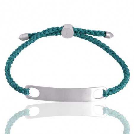 Sky Blue Glass Stone 925 Sterling Silver Cord Bracelet