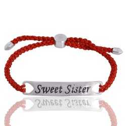 Red Glass Stone 925 Sterling Silver Bracelet
