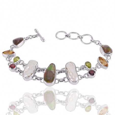 Ammolite Multigemstone 925 Sterling Silver Bracelet