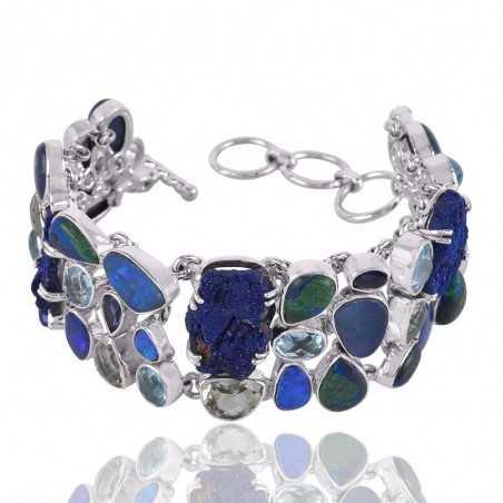 Azurite Malachite Doublet Opal Green Amethyst Iolite And Sky Blue Topaz Gemstone 925 Sterling Silver Bracelet