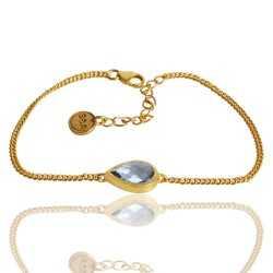 Natural Sky Blue Topaz Gemstone 925 Sterling Silver Cluster Bracelet