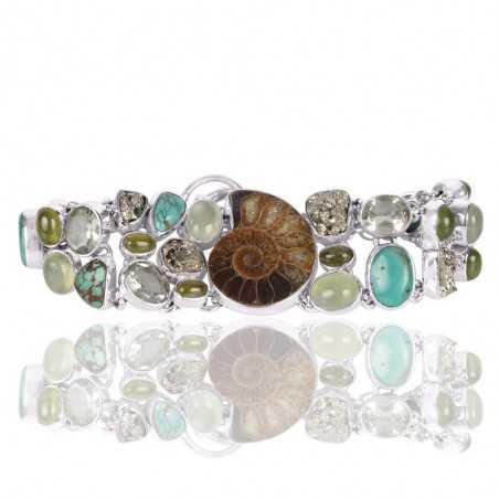 Green Amethyst Idocrase Medagasker Ammonite Prehnite Pyrite And Tibetan Turquoise Gemstone 925 Sterling Silver Bracelet