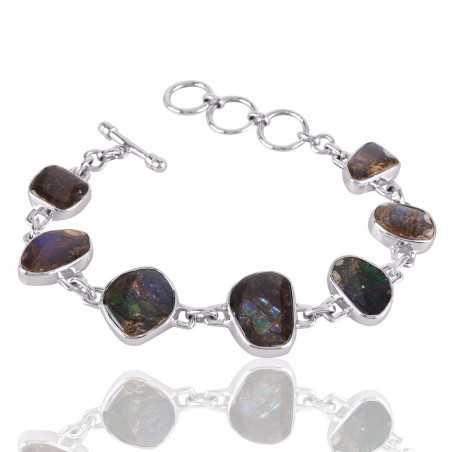 Ammolite Gemstone 925 Sterling Silver Bracelet