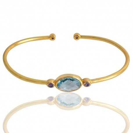 Amethyst And Sky Blue Topaz Gemstone 925 Silver Bracelet
