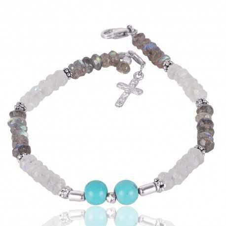 Labradorite Arizona Turquoise And Rainbow Moonstone Beads Gemstone 925 Sterling Silver Bracelet