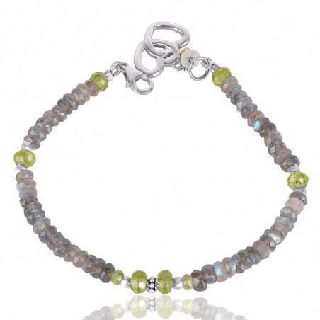 Peridot And Labradorite Beads Gemstone 925 Solid Silver Bracelet