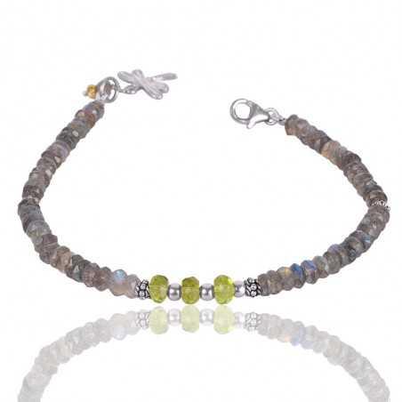 Labradorite And Peridot Beads Gemstone 925 Sterling Silver Bracelet