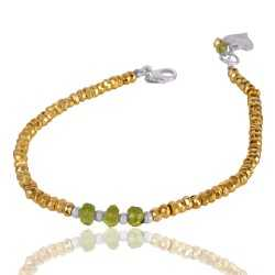 Pyrite And Peridot Beads Gemstone 925 Sterling Silver Bracelet
