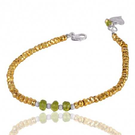 Pyrite And Peridot Beads Gemstone 925 Sterling Silver Bracelet