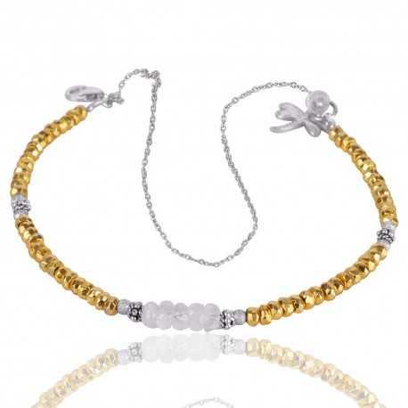 Rainbow Moonstone And Pyrite Beads Gemstone 925 Silver Bracelet