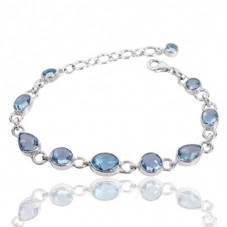 Sky Blue Topaz Gemstone 925 Solid Silver Bracelet
