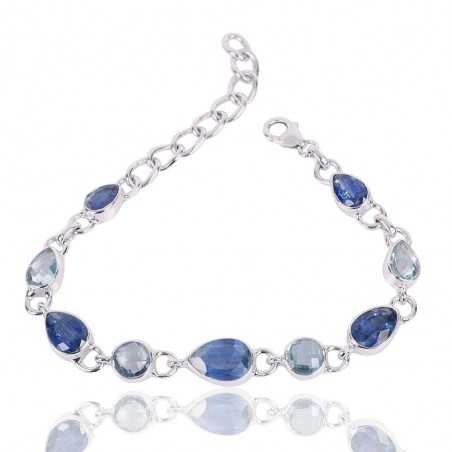 Kyanite And Sky Blue Topaz Gemstone 925 Silver Bracelet