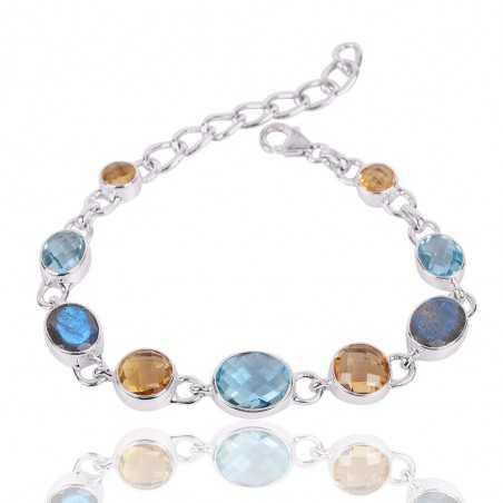 Citrine Labradorite And Sky Blue Topaz Gemstone 925 Silver Bracelet