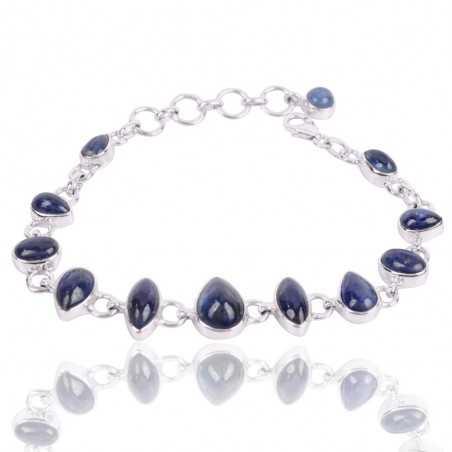 Kyanite Gemstone 925 Sterling Silver Cluster Bracelet