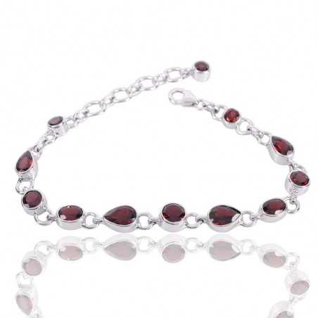 Garnet Gemstone Solid Silver Bracelet