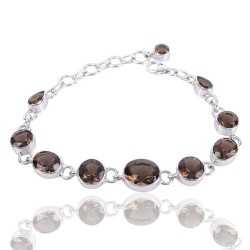 Smoky Quartz Gemstone Solid Silver Bracelet