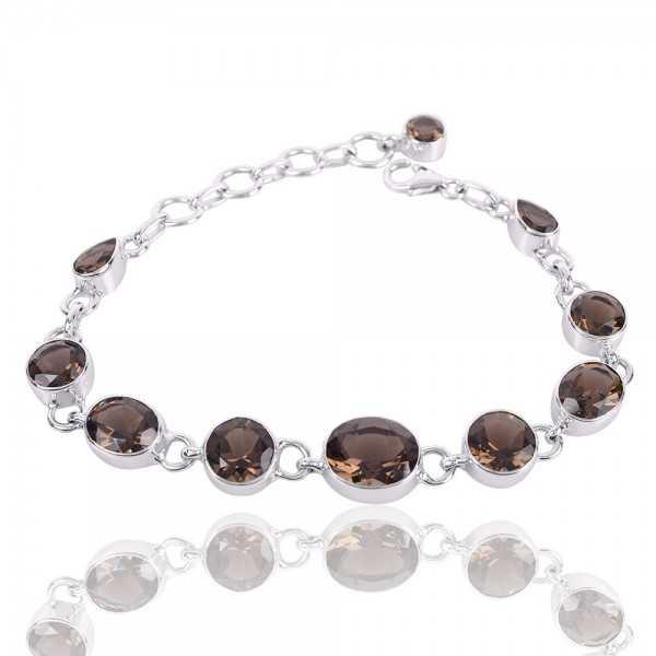Smoky Quartz Gemstone Solid Silver Bracelet
