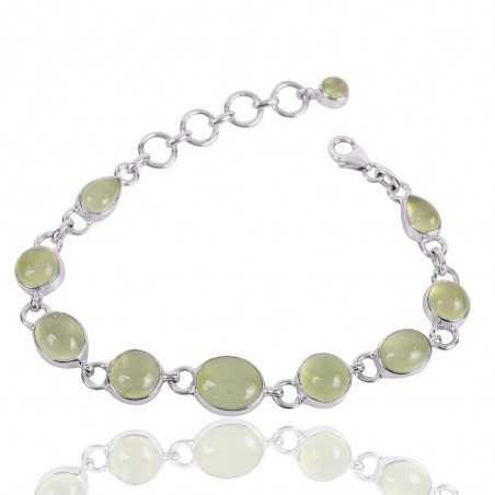 Prehnite Gemstone 925 Sterling Silver Bracelet