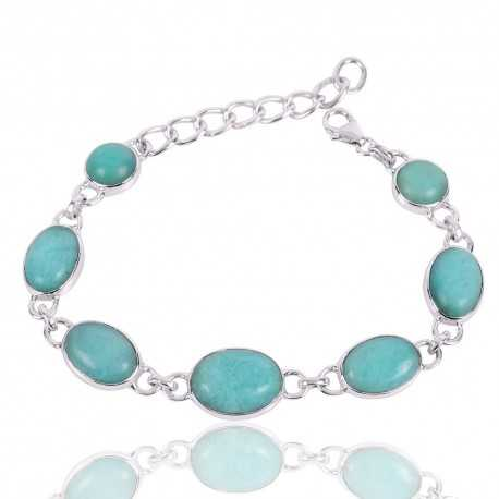 Amazonite Gemstone 925 Sterling Silver Bracelet