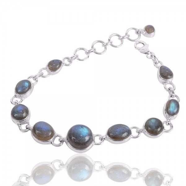 Labradorite Gemstone 925 Sterling Silver Bracelet