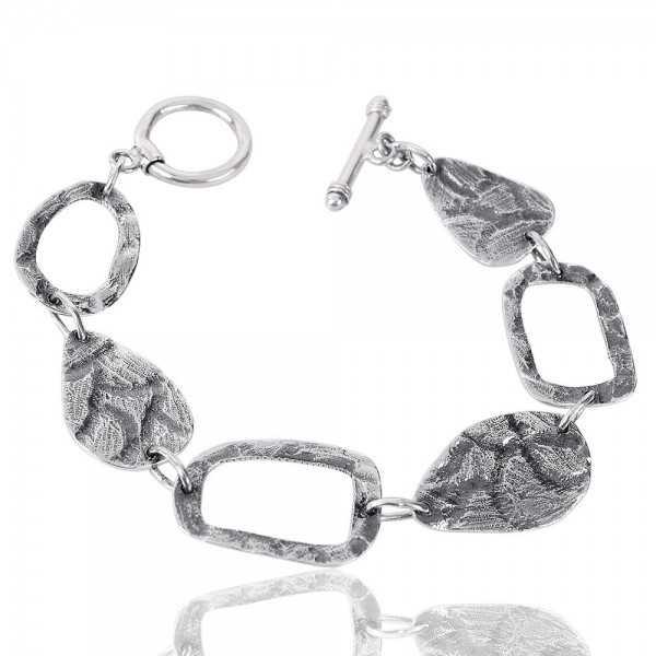 Sterling Silver Oxidise Cluster Bracelet