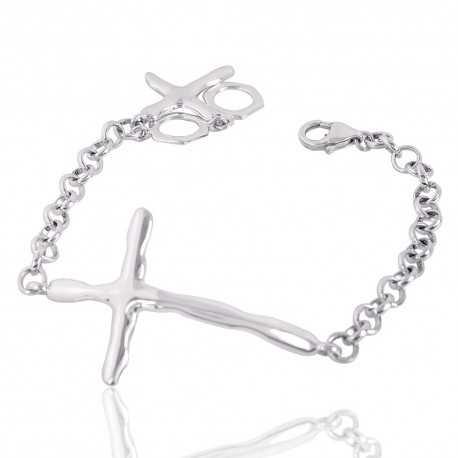 Cross Solid Silver Cluster Bracelet