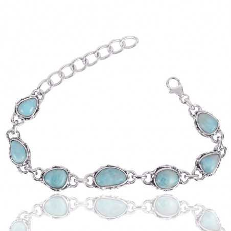 Larimar Gemstone 925 Sterling Silver Bracelet