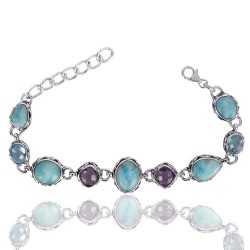 Multigemstone Sterling Silver Bracelet