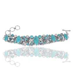 Arizona Turquoise And Multigemstone Sterling Silver Bracelet