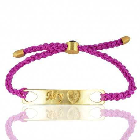 Amethyst Gemstone Brass Cord Bracelet