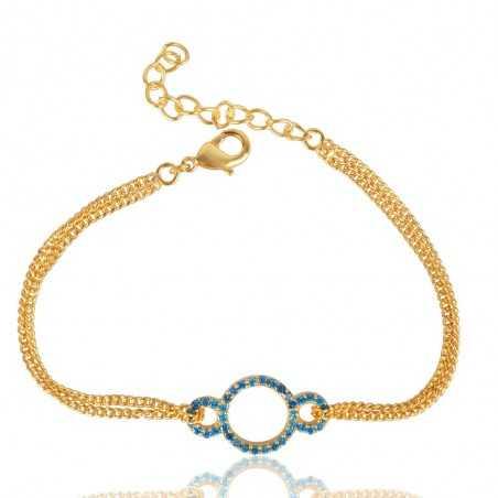 Blue Topaz Zircon Gemstone Gold Plated Brass Bracelet