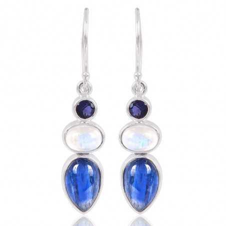 Iolite Kyanite And Rainbow Moonstone Gemstone Drop & Dangle Silver Earring