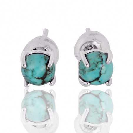 Tibetan Turquoise Gemstone Silver Stud Earring