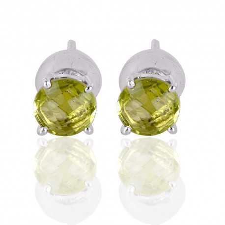 Peridot Gemstone Silver Stud Earring