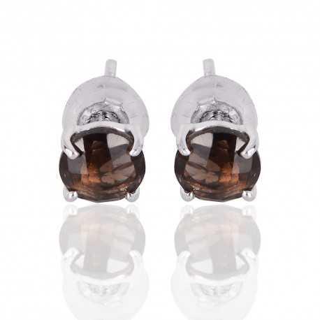 Silver Stud Smoky Quartz Gemstone 925 Sterling Earring