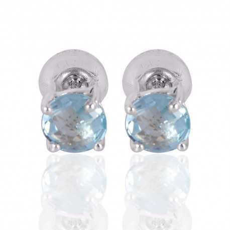 Silver Stud Sky Blue Topaz Gemstone 925 Sterling Earring