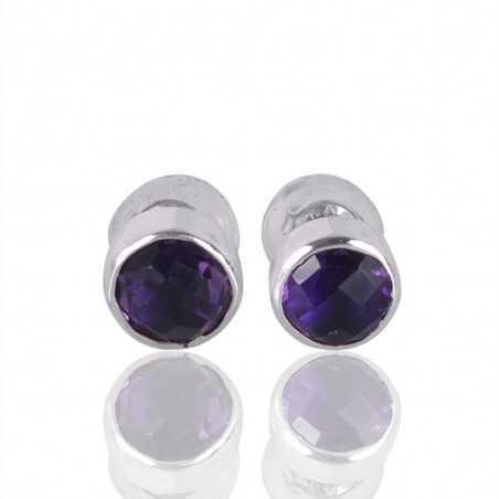 Silver Stud Amethyst Gemstone 925 Sterling Earring