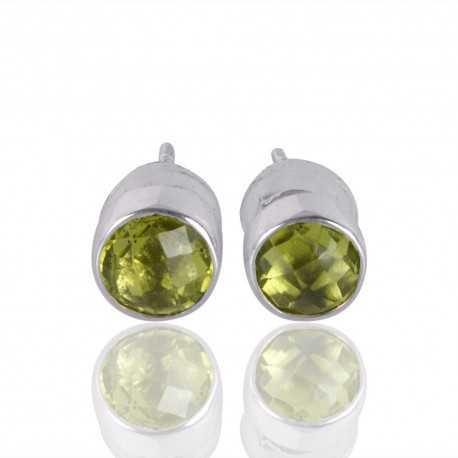 Peridot Gemstone 925 Silver Stud Earring