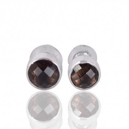 Smoky Quartz Gemstone 925 Silver Stud Earring