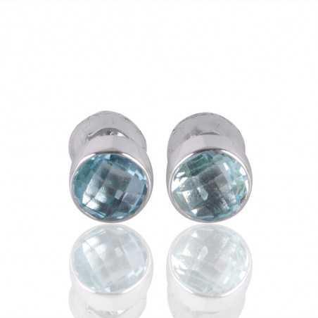 Sky Blue Topaz Gemstone 925 Silver Stud Earring